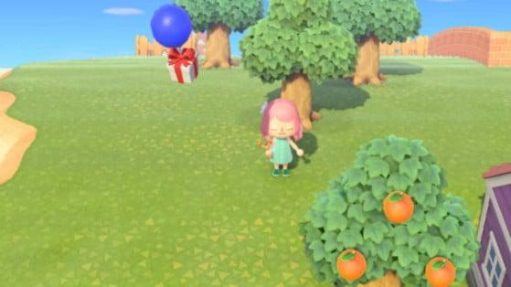 Animal Crossing: New Horizons - explotar globos, regalos en el cielo