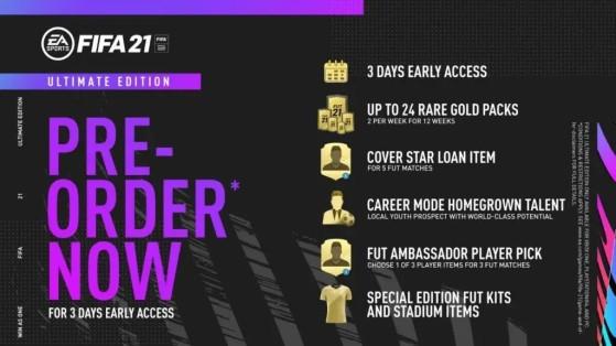 Contenido de la Ultimate Edition al reservar DESPUÉS del 14 de agosto - FIFA 21