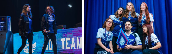 A la izquierda, Shiny y Freyja en la etapa clasificatoria de Madrid. // A la derecha, Out of the Blue posa con el trofeo GAMERGRIL Festival Madrid. // Crédito de la foto: Out of the Blue - League of Legends