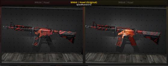 A la izquierda el M4A4 Howl antes de la polémica y a la derecha después de la actualización - Counter Strike : Global Offensive