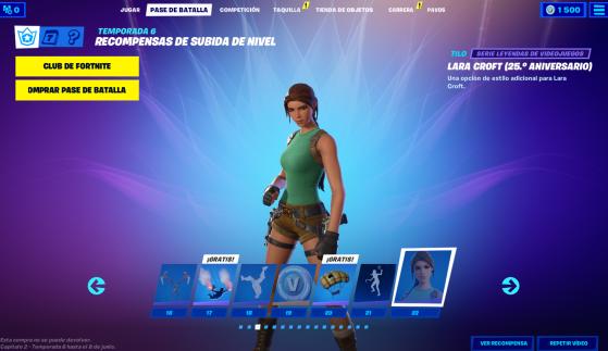 Tier 22 - Traje - Lara Croft (25 aniversario) - Fortnite : Battle royale