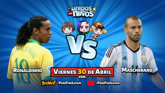 Ronaldinho y Mascherano jugarán Free Fire por los niños en un evento especial