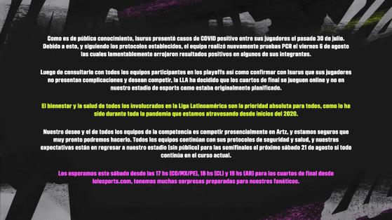 Comunicado oficial de Riot Games. - League of Legends