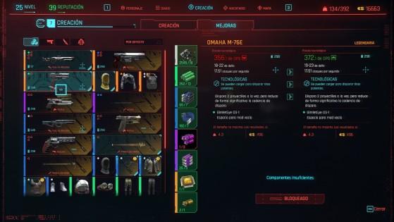La mejora te permite aumentar el nivel de rareza o el daño de un arma. - Cyberpunk 2077