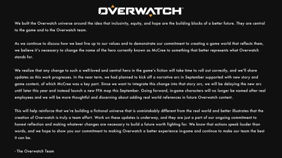 Comunicado oficial en inglés. - Overwatch