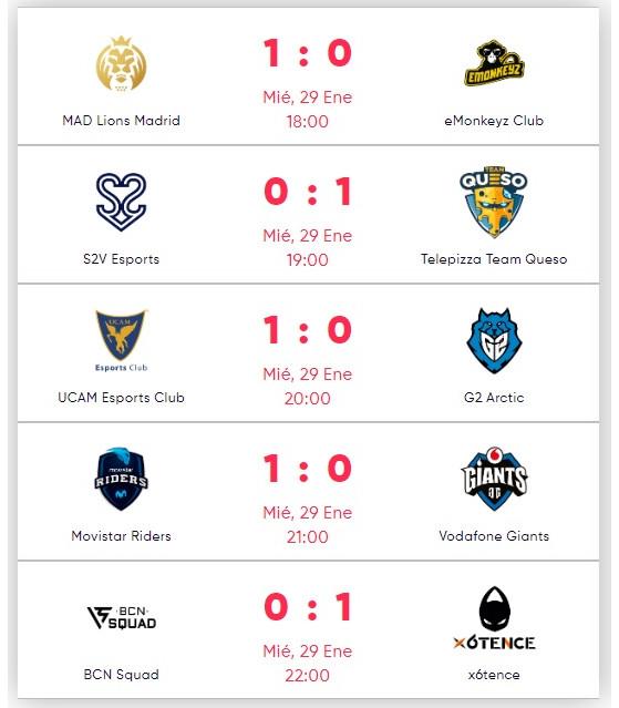 Partidos disputados anoche en SLO. - League of Legends