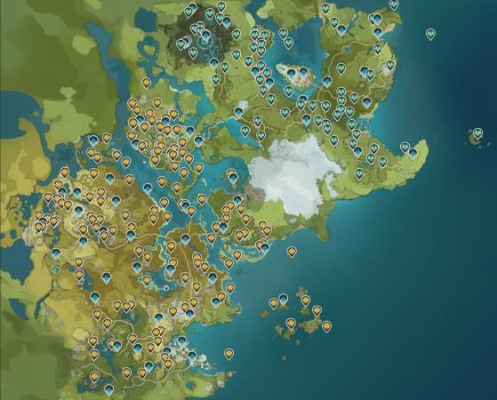 Genshin Impact: Mapa completo descargable e interactivo con TODO - Objetos, minerales, estatuas...
