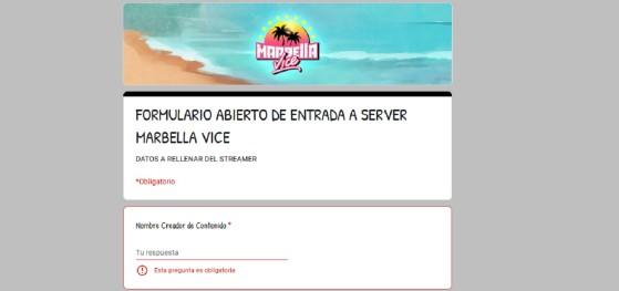 Marbella Vice: Cómo participar. Este es el formulario que debes rellenar para entrar al servidor