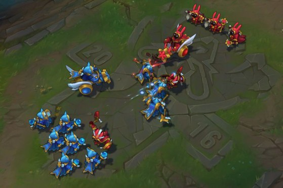 Los minions se agrupan en oleadas - League of Legends