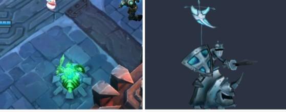 A la izquierda el bug, a la derecha una versión de prueba de los minions - League of Legends