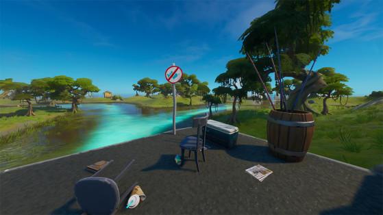 Fortnite: Atrapa un objeto con una caña de pescar en distintas ubicaciones con señales de No pescar