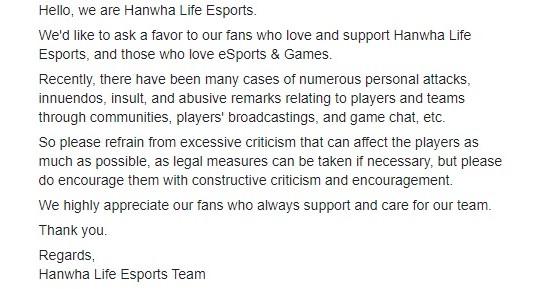 Post de HLE en su perfil de Facebook. - League of Legends