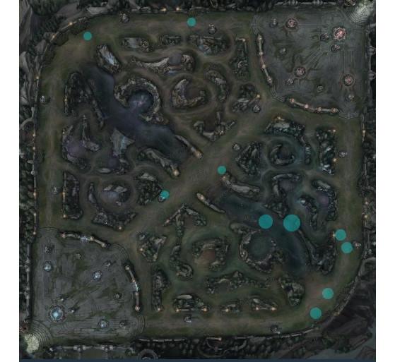 Mapa K+A @15 min de Inspired. Games of Legends. - League of Legends
