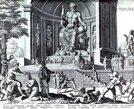 La estatua de Zeus en Olimpia. Fue creada por Fidias y considerada una de las 7 Maravillas del Mundo Antiguo. - League of Legends