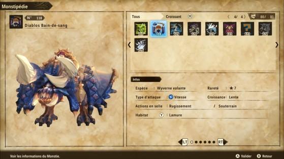 Ficha de Diablos Sanguinario - Monster Hunter Stories 2: Wings of Ruin