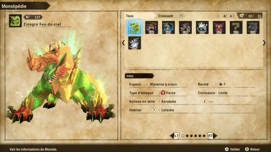 Ficha de Zinogre Tormenta - Monster Hunter Stories 2: Wings of Ruin