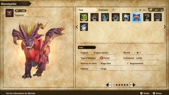 Ficha de Teostra - Monster Hunter Stories 2: Wings of Ruin