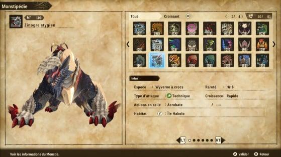 Ficha de Zinogre Estigio - Monster Hunter Stories 2: Wings of Ruin