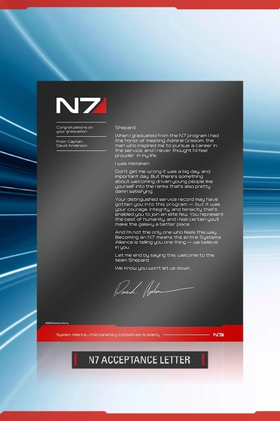 Carta de bienvenida al N7 - Millenium