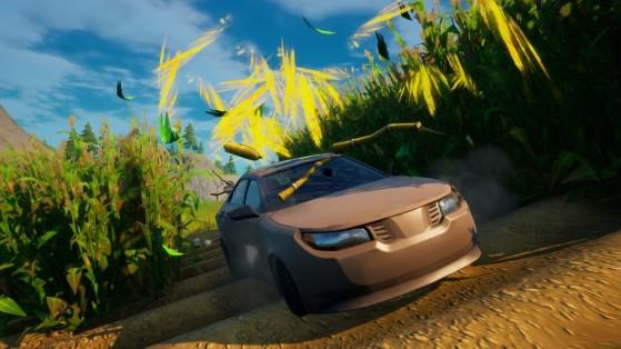 Fortnite: Conduce un coche a través del campo de maíz en Granja de Acero, desafío Semana 8
