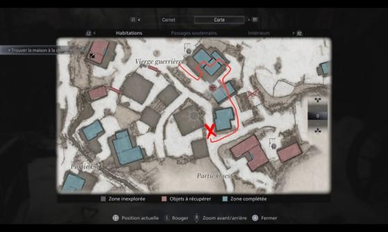 La cruz muestra la posición del tractor. - Resident Evil Village