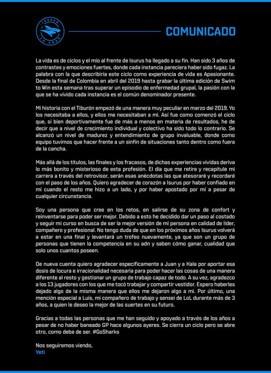 Comunicado oficial de Yeti. - League of Legends
