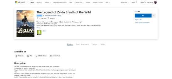 Copian el título de Zelda: Breath of the Wild para un timo disponible en Microsoft Store