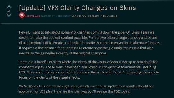 Uno de los mensajes en los foros de League of Legends que hablaba de skins baneadas. - League of Legends
