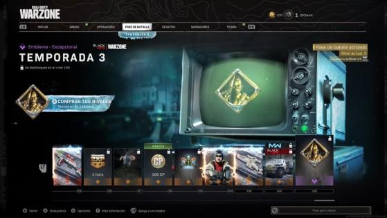 Niveles del 95 al 100 del pase de batalla de la temporada 3 de Warzone - Call of Duty Warzone