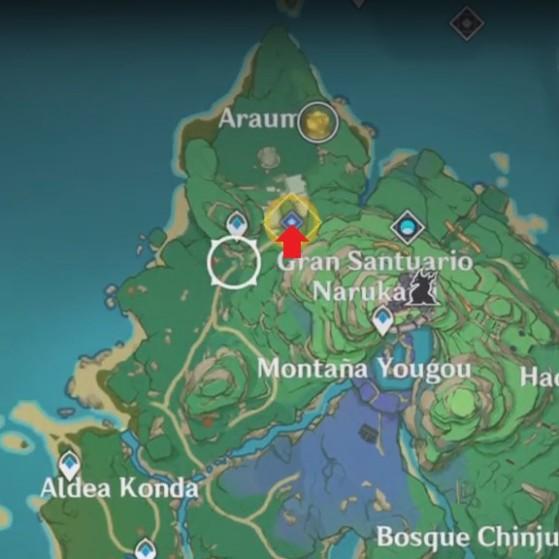 Paso 2: Inviestigar la zona objetivo y a reunir minerales - Genshin Impact