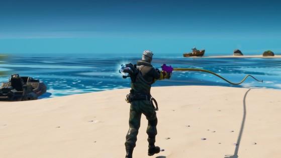 Fortnite: Tira de un objeto, de un enemigo y pesca un pez con la pistola arpón, desafío